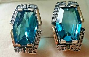 Earring  Charlotte  Sterilng Silver and Gold  with Blue Stone So Elegant