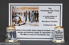 WW1. The Christmas Day Truce 1914 Gold Top Ltd Ed China Thimble + Cert B/147