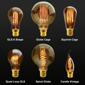B22 Bayonet or E27 Edison Vintage Light Bulbs Filament Style Squirrel Cage