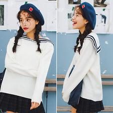 Women Sailor Collar Pullover KNIT Sweater Japanese Elegant Loose Coat Two color