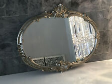 Baroque Wall Mirror Oval Antique Silver 52x42 Bathroom Vintage