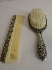 Vtg. Silver Plated Brush & Comb Set