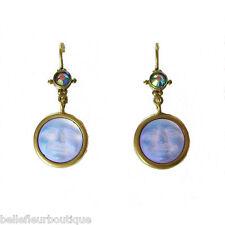 Kirks Folly Seaview Moon Sparkle Leverback Earrings Brasstone & Lavender