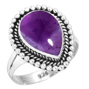 925 Sterling Silver Ring Natural Amethyst Handmade Jewelry Size 6.5 GL53698