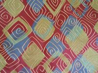Green red abstract upholstery fabric 1 1/2 yards