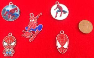 Set Of 5 Various SuperHero Spiderman Enamel Bracelet Key Ring Pendant Charms D2u