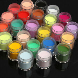 24 Pcs Mixed Colours 3D Acrylic Nail Art Dust Powder Decoration Tips