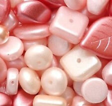 70 GM (80 pcs)  Mix Pearl Rose Pink Pressed Glass Beads