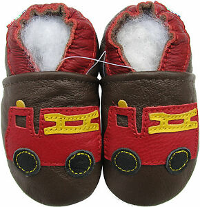 carozoo fire truck brown 3-4y soft sole leather toddler shoes