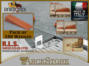 ARCKSTONE Pack 100 wedges Tile Tiler floor coating Raimondi Levelling System RLS