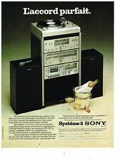 PUBLICITE ADVERTISING  054  1978  SONY   chaine hi-fi SYSTEME 3