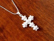 Hawaiian Jewelry 925 Sterling Silver PLUMERIA CZ CROSS Pendant Necklace SP60912