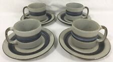 "4 Sets Otagiri Blue Horizon Stoneware 3.25"" 8.5 oz Mugs w/ Saucers Japan Art"