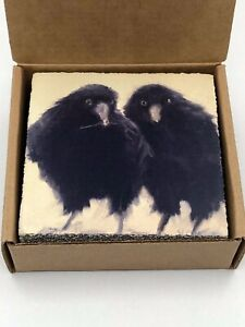 Cedar Mountain Lost and Found Art Block Raven Nesters Wall Plaque in Box