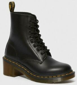Dr. Martens Clemency Smooth Leather Lace Up Boots Black NIB 14638003