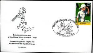 "Kongo Kinshasa Zaire 2001 ""Tim im Kongo"", MiNr 1690 auf FDC  Joint Issue"