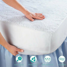 """Quilted Fitted Mattress Pad Queen Cover Stretche Up To 18"""" Deep Bedding Washable"""