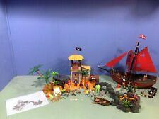 (O3938.9) Playmobil grande ile pirate + bateau ref 3938 3174