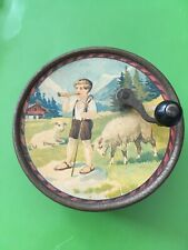 Antique Small Swiss Childs Crank Manivelle Music Box, Boy, Sheep, Chalet, Rare