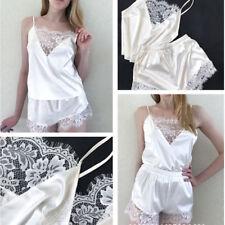 Women Lady Sexy Satin Lace Lingerie Nightwear Sleepwear Tops+Shorts Pajamas ONE
