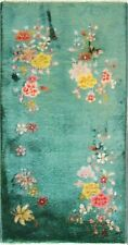 "antique Art Deco Chinese Rug 2' x 3'8"" Green, #17130"