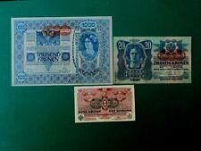 More details for austrian empire 3x banknotes set 1000 kr 1902; 20 kr 1913; 1 kr 1918 vf