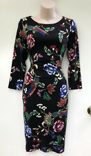 JANE LAMERTON Bird & Floral Printed Jersey Dress 3/4 Sleeve sz 8 NWT Rrp $129.95