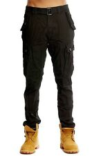 PJ Mark Mens Lightweight Slim Taper Fit Twill Belted Cargo Pants with DrawString
