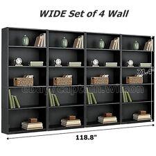 Bookcase WIDE 5 Shelf Set of 4 Wall Black Adjustable  Wood Bookshelf Storage