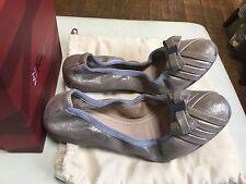 Salvatore Ferragamo My Joy Nubuck Nude Leather Neutral Metallic Bow Flats Size 6