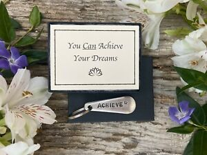 Achieve - Inspirational, Vintage Cutlery Keyring Gift with Positivity Message
