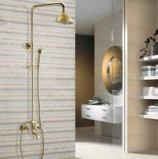 Luxury Gold Color Brass Rain Shower Faucet Tub Mixer Tap With Hand Shower 8gf343