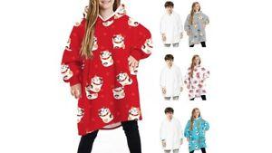 Kids Oodie Style Oversized Hoodie Blanket Sherpa Lined Fleece Hooded Sweatshirt