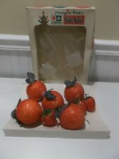 *9* Vtg Lidco Styrofoam Red Glitter Christmas Ornaments~Apples & Strawberries