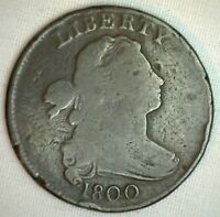 1800 Draped Bust Copper Large Cent Early Penny Type Coin YG We Grade G M37