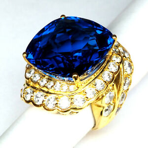 TOPAZ SWISS BLUE ANTIQUE 44.90 CT.SAPPHIRE 925 STERLING SILVER GOLD RING SZ 6.75