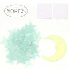 50 Glow In The Dark Star and Moon Set Plastic Shape for Nursery Room Decor