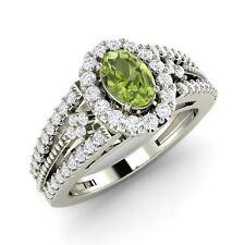 14K White Gold 0.89 ct Certified Natural G/SI Diamond & Peridot Engagement Ring
