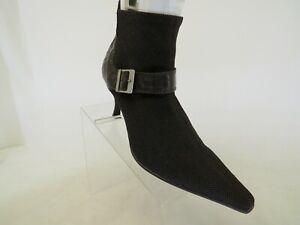 Donald J Pliner Brown Canvas Gator Buckle Ankle Fashion Boots Bootie Size 10 M