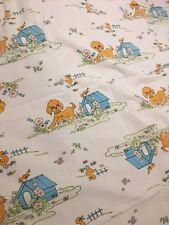 Vintage drap plat 190x250cm tissus motif chien canard oiseau linge de lit enfant
