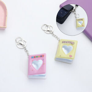 1 Inch 16 Photos Candy Color Key Rings Mini Photo Album Keychain Card Holder
