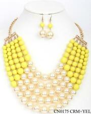 Adjustable 5 Layer Yellow and Cream Pearl Necklace with Earrings