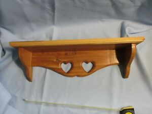 Vtg Handcrafted Natural Solid Cherry? wood wall shelf heart cut outs Country 20""