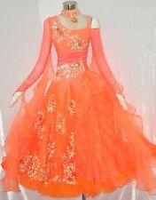 Women Ballroom Competition Dance Dress Orange Waltz Smooth Modern Dance Gown New