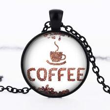 Coffee bean photo dome Black Cabochon Glass Necklace chain Pendant