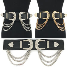 Western Fashion ELASTIC Bri Bri WAIST HIP Wide Metal Chain BELT Stretch Black