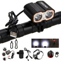 10000LM 2X XM-L T6 LED USB Cycling Front Bicycle Bike light Headlight Headlamp