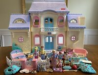 1997 Fisher Price Loving Family Grand Dollhouse 74618 4618 HUGE Lot Blue Roof
