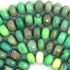 "12mm faceted green chrysoprase rondelle beads 16"" strand"