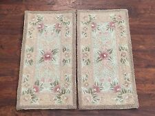 (2) 1X2 Hand-Hooked Area Rugs Set Small Oriental Wool Carpet Lot Pair 1.1 x 2.2